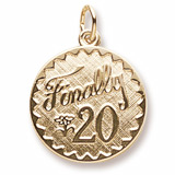 Gold Plated Finally 20 Birthday Charm by Rembrandt Charms