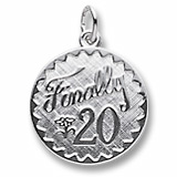 Sterling Silver Finally 20 Birthday Charm by Rembrandt Charms