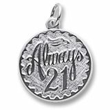 14k White Gold Always Twenty One Disc Charm by Rembrandt Charms