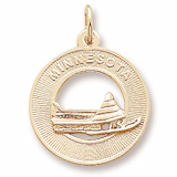 Gold Plated Minnesota Snow Mobile Charm by Rembrandt Charms