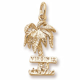 Gold Plated Virgin Islands Palm Tree Charm by Rembrandt Charms