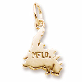 Gold Plated Newfoundland Map Charm by Rembrandt Charms