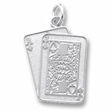 14K White Gold Black Jack Cards Charm by Rembrandt Charms