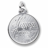 14K White Gold Happy Anniversary Disc by Rembrandt Charms