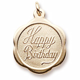 10K Gold Happy Birthday Scalloped Charm by Rembrandt Charms
