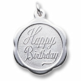 Sterling Silver Happy Birthday Scalloped Charm by Rembrandt Charms
