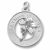 Sterling Silver Grand Cayman Hibiscus Charm by Rembrandt Charms