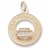 Gold Plated San Francisco Cable Car Charm by Rembrandt Charms