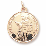 14K Gold Saint Florian Disc Charm by Rembrandt Charms