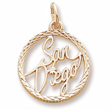 Gold Plate San Diego Faceted Charm by Rembrandt Charms