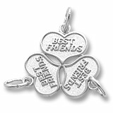 14K White Gold Three Best Friends Hearts Charm by Rembrandt Charms