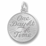 14K White Gold One Day At A Time Disc Charm by Rembrandt Charms