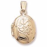 14K Gold Flower Oval Locket Pendant by Rembrandt Charms