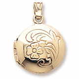 Gold Plate Flower Circle Locket Pendant by Rembrandt Charms