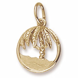 14K Gold Beach and Palm Tree Charm by Rembrandt Charms
