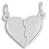 14k White Gold Breaks Apart Heart Charm by Rembrandt Charms