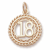 10K Gold Number 18 Charm by Rembrandt Charms