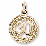 14K Gold Number 30 Charm by Rembrandt Charms