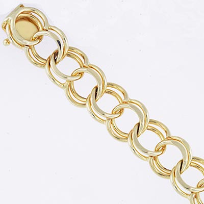 14k Gold Charm Bracelet XM 5mm Wide 7 inch