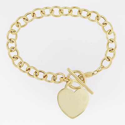 14k Gold Charm Bracelet with Hearts Width 7mm 7 1/2 inch
