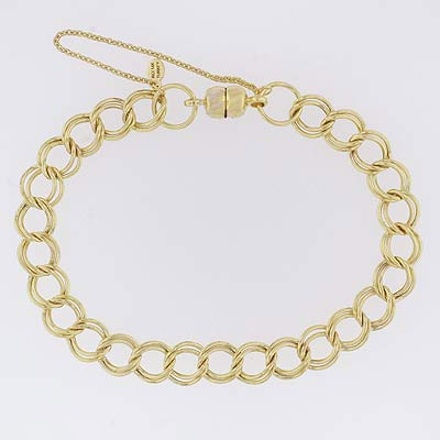 14k Gold Charm Bracelet XM 7.8mm Magnet Clasp 7 inch