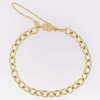 14k Gold Charm Bracelet XM 6mm Magnet Clasp 7 inch