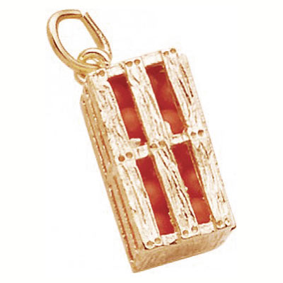 Gold Plated Orange Crate Charm by Rembrandt Charms