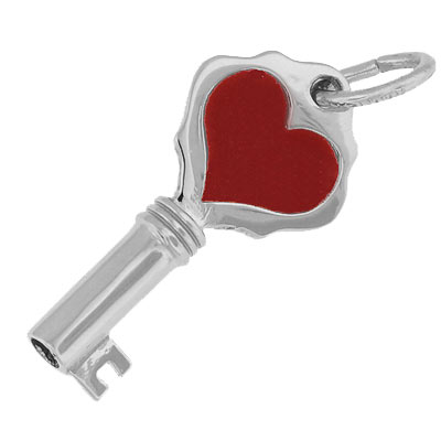 Sterling Silver Key with Red Heart Charm by Rembrandt Charms