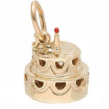 14k Gold Hollow Two-Tier Cake Charm by Rembrandt Charms