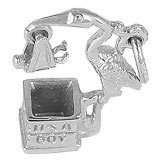 14k White Gold Stork It's a Boy Charm by Rembrandt Charms