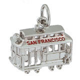 14K White Gold San Francisco Cable Car by Rembrandt Charms
