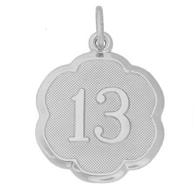 Sterling Silver Number Thirteen Scalloped Charm by Rembrandt Charms