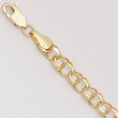 14k Gold Charm Bracelet XM 5mm Wide 7 inches