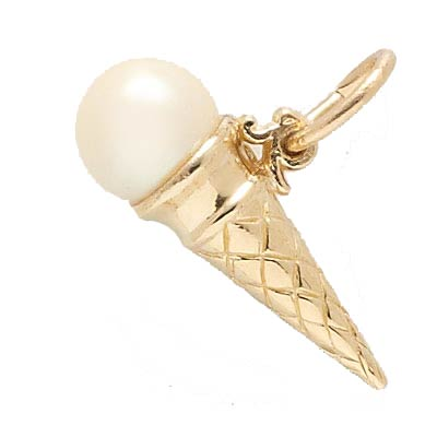 14K Gold Ice Cream Cone Charm by Rembrandt Charms
