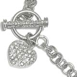 Sterling Silver Charm Bracelet CZ & Hearts Width 6mm 8 inches