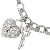 Sterling Silver Charm Bracelet with CZ Heart & Key Length 7 inch