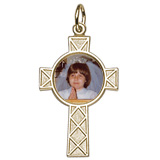 Gold Plated Celtic Cross PhotoArt® Charm by Rembrandt Charms