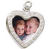 14K White Gold Heart Scroll PhotoArt® Charm by Rembrandt Charms