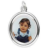 14K White Gold Large Oval PhotoArt® Charm by Rembrandt Charms