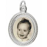 Sterling Silver Small Oval Rope PhotoArt® Charm by Rembrandt Charms