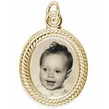 14K Gold Small Oval Rope PhotoArt® Charm by Rembrandt Charms