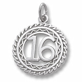 Sterling Silver Number 16 Charm by Rembrandt Charms