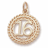14K Gold Number 16 Charm by Rembrandt Charms