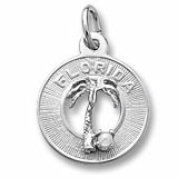 14K White Gold Florida Palm and Pearl Charm by Rembrandt Charms