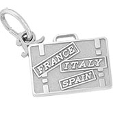 Sterling Silver European Travel Suitcase Charm by Rembrandt Charms