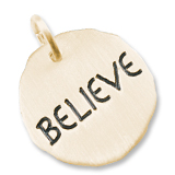 Gold Plate Believe Charm Tag by Rembrandt Charms