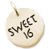10K Gold Sweet Sixteen Charm Tag by Rembrandt Charms