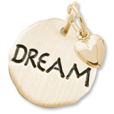 10K Gold Dream Charm Tag with Heart by Rembrandt Charms