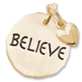 14K Gold Believe Charm Tag with Heart by Rembrandt Charms