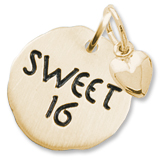 Gold Plate Sweet 16 Charm Tag with Heart by Rembrandt Charms
